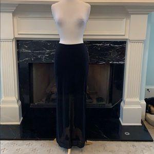 NWT Bisou Bisou half knit/half sheer blk skirt